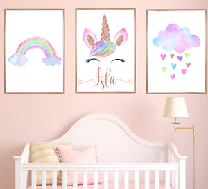 Personalised Unicorn Nursery Art Prints Set Of 3 Baby Girl Rose Gold Room Decor