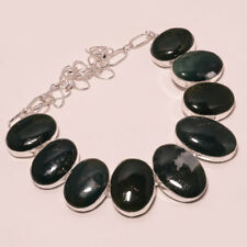 "Excellent Quality Green Jade Ocean Jasper Gemstone Silver Plated Necklace 17""18"""
