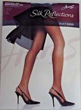 NIP Hanes Silk Reflections #718 Control Top,Reinforcecd Toe, Jet , SZ EF