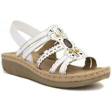 Earth Spirit Portland Womens Ladies White Strappy Leather Sandals Size 4-9