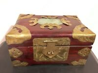 1920s Minguo Period Rosewood & Carved Bronze Jewelry Box in Qing Dynasty style