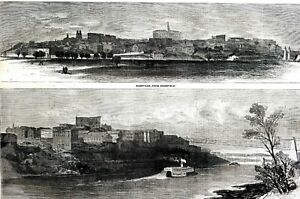 Nashville Tennessee 1866 From EDGEFIELD and BANK of CUMBERLAND Matted Art Print