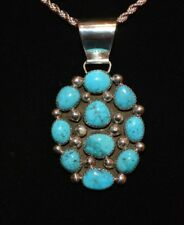 Necklace Turquoise Cluster Pendant Sterling By Native American Artist A Johnson