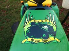 Hood decal for John Deere  LIVE FREE MOW HARD - riding lawn mower garden tractor