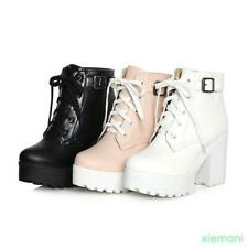Women's Chunky Heels Platform Lace Up Punk Ghic Ankle Riding Boot Shoes SZ UK2-9