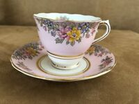 Colclough vintage china tea cup & saucer porcelain coffee CLC104 pink floral