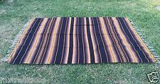 "Mexican Blanket Sarape Dark Brown-Yellow Recycle Acrylic""84x60""Made Mexico"