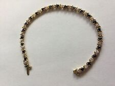 "10K Solid Yellow Gold Sapphire and Cubic Zirconia Tennis 7"" Bracelet - Excellent"