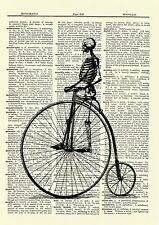 Skeleton on Unicycle Dictionary Picture Poster Art Print Gothic Picture Bicycle