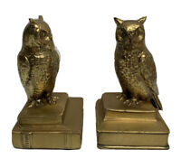 Vintage PM Craftsman Pair Brass Owls Perched On History Books HEAVY BOOKENDS USA