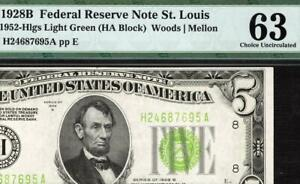1928b $5 St Louis Federal Reserve Note FRN 1952-B *Light Green* Seal LGS PMG 63