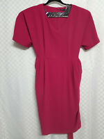 Ladies M&S Pencil Midi Dress Size 18 Rasberry Purple Belt Pockets Short Sleeve
