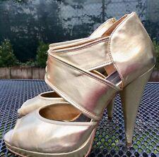 H & M Gladiator High Heel Stiletto Gold  Gr. 39 + Strass Ring* gratis