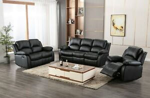 Athon Furniture 3+2 SEATER LEATHER RECLINER SOFA Brown Black Grey SET SUITE
