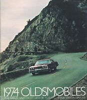 BIG 1974 OLDSMOBILE Brochure w/Color Chart: TORONADO,98,88,CUTLASS SUPREME,OMEGA