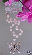 "Liz Claiborne Silvertone Pink Beaded Butterfly Necklace New 16"" Adj Signed"