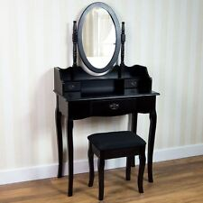 Nishano Dressing Table 3 Drawer Stool Black Mirror Bedroom Makeup Desk Dresser