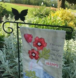 Butterfly Flag Holder Hook Stand Garden Heavy Duty Black Metal Outdoor Amish