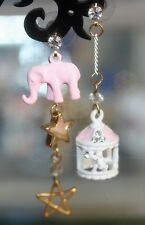 "Elephant (Pink)& Birdcage With Swarovski Crystal Dangle Earrings ""VERY PRETTY""!!"