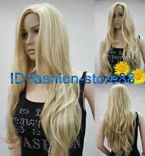 Long Western Womens Wig Like Real Natural Hair Wave Curly Blonde Wig Wigs A888