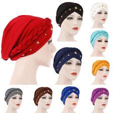 Wrap Hair Loss Head Scarf Muslim Women Turban Cap Cancer Chemo Hat Beads Braid