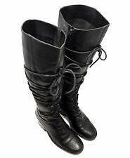 SALE Ann Demeulemeester Black Leather Knee High Zip Up / Laced Military Boots 36