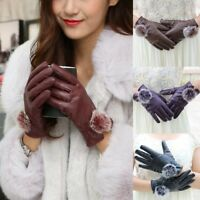 Gloves vintage Leather synthetic Soft Faux Fur Ball Winter PU