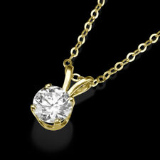 1 Carat Round Cut Solitaire Pendant Necklace And Chain in Solid 14K Real Gold