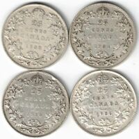 4 X CANADA TWENTY FIVE CENTS QUARTERS KING GEORGE V SILVER COINS 1933-1936
