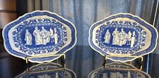 """Rare pair English antique blue and white 1780-1820 """"Kirk"""" Series Serving Dishes"""