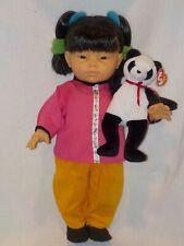 """18"""" Oriental Little Girl Doll W/Panda Bear By Berenguer"""