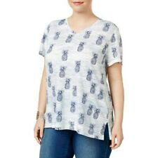 Style & Co Plus Size Short Sleeve V-Neck Pineapple Print Cotton Top 1X Blue #124