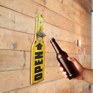 Novelty Funny Retro Wooden Beer Bottle Opener Wall Mounted Drinks Cap Top Gift