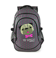 DAVID AND GOLIATH - YOU SO PUGLY POLKA DOT POLKA DOT SCHOOL BACKPACK - GREY/PINK