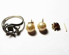 Gold Ring & Earrings *Broken/Scrap* 4g Scrap 10k Gold White Gold & Yellow