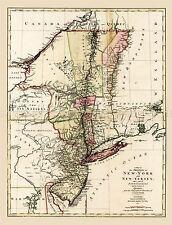 MAP ANTIQUE 1777 LOTTER NEW YORK JERSEY PENNSYLVANIA QUEBEC REPRO PRINT PAM1656