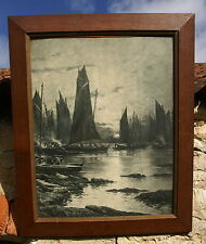 FISHING BOATS, FRENCH SCENE-  BRAUN & Cie  21 X 19 I NCHES INCL FRAME