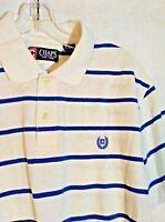 CHAPS Mens Polo Shirt Blue White Stripe 100% Cotton Short Sleeve size L