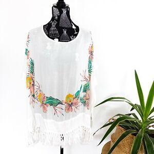Roxy Beach White Cover All Fringe Hem Size M / L Women's Beach Swimwear
