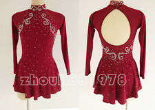 New Girls Ice Figure Skating Dress Figure skaitng Dress For Competition burgundy