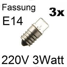3x Glühlampe Glühbirne Lampe Röhre Spezial Ersatz Fassung E14 220V 3W 273053