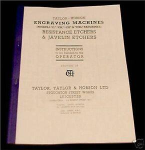 Taylor Hobson Models C, CB, CX, CXL Engraver Manual