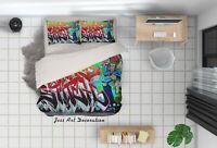 3D Abstract Street Graffiti Quilt Cover Set Pillowcases Duvet Cover 3pcs Bedding
