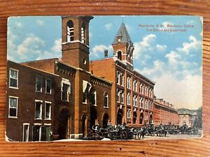 Manchester Central Fire Station, Manchester, New Hampshire NH - Vintage Postcard