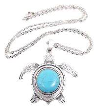Turtle Pendant Silver Turquoise Boho Ethnic 31 Inch Chain Statement Necklace