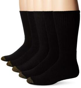 Gold Toe Men's 10-13 Downtown Crew 5 Sock Size: 10-13/Shoe Size:9-11, Black