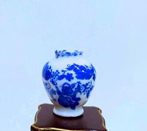 Dollhouse Miniature Hand-Painted Delft Style Blue  & White Floral Vase