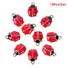 10Pcs/Set Enamel Alloy Ladybug Charms Pendant Jewelry Finding DIY Making Craft