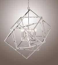 6 Light Multifaceted Frame Caged Cubist Metron Chandelier Interlock Polished