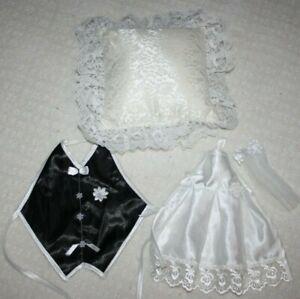 White Wedding Bride Satin Rose Ring Pillow & Bottle Decoration Bride Groom